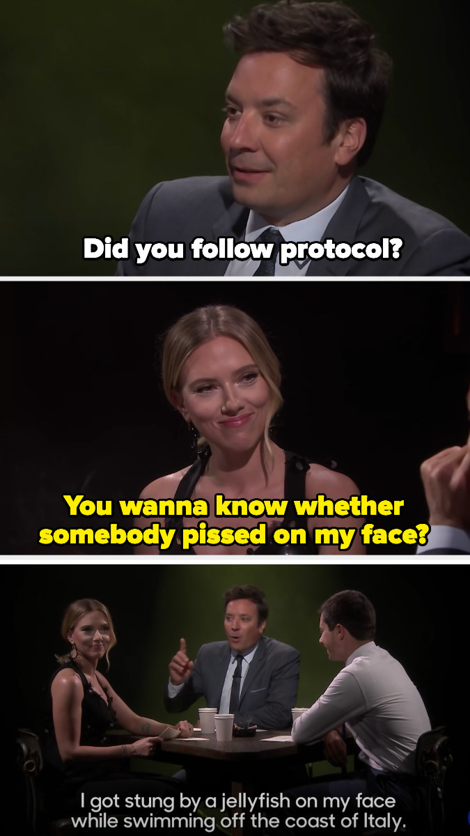 """Jimmy Fallon asks """"Did you follow protocol?"""" and Scarlett responds, """"You wanna know whether somebody pissed on my face?"""""""