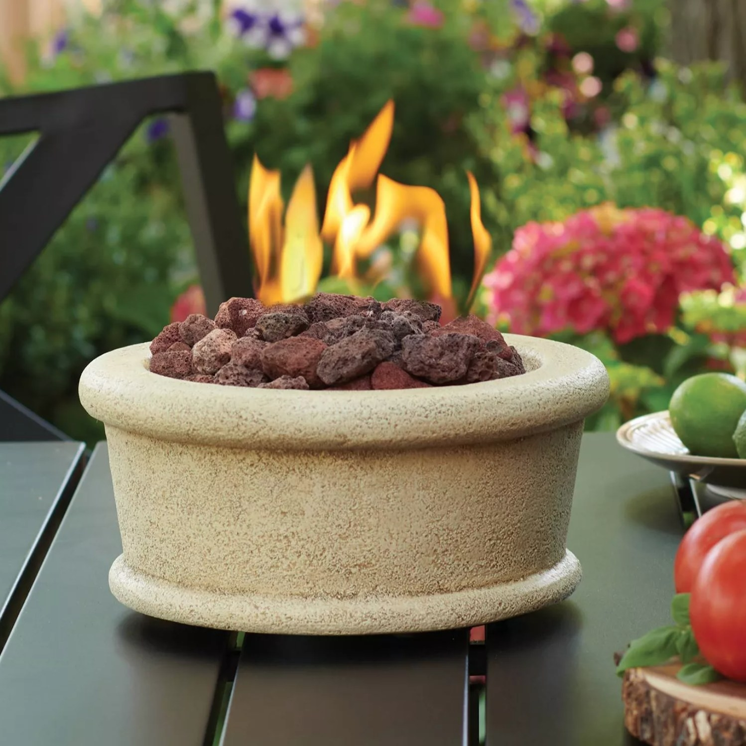 the small fire pit on an outside table