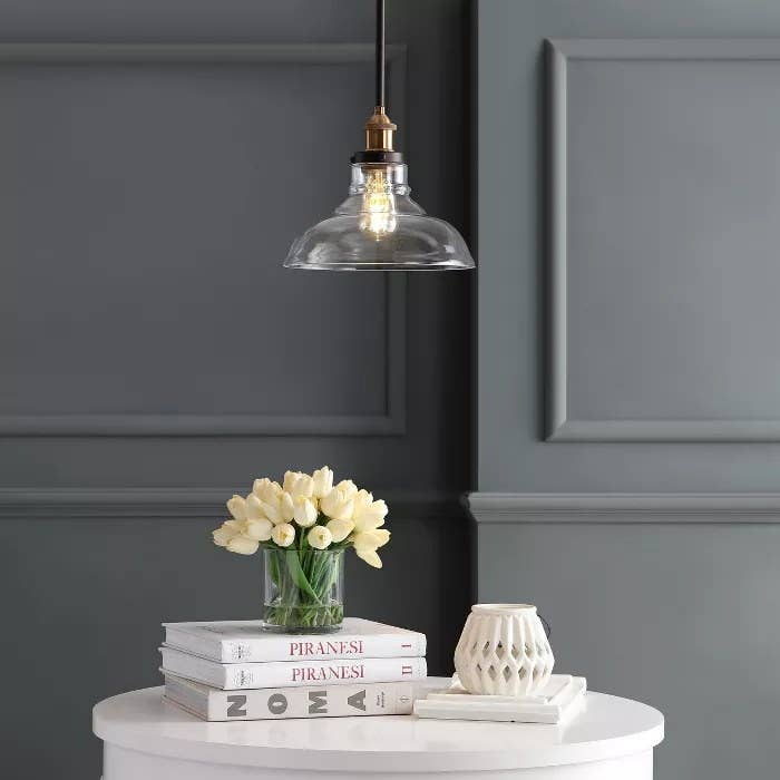 The black pendant lamp with a clear shade