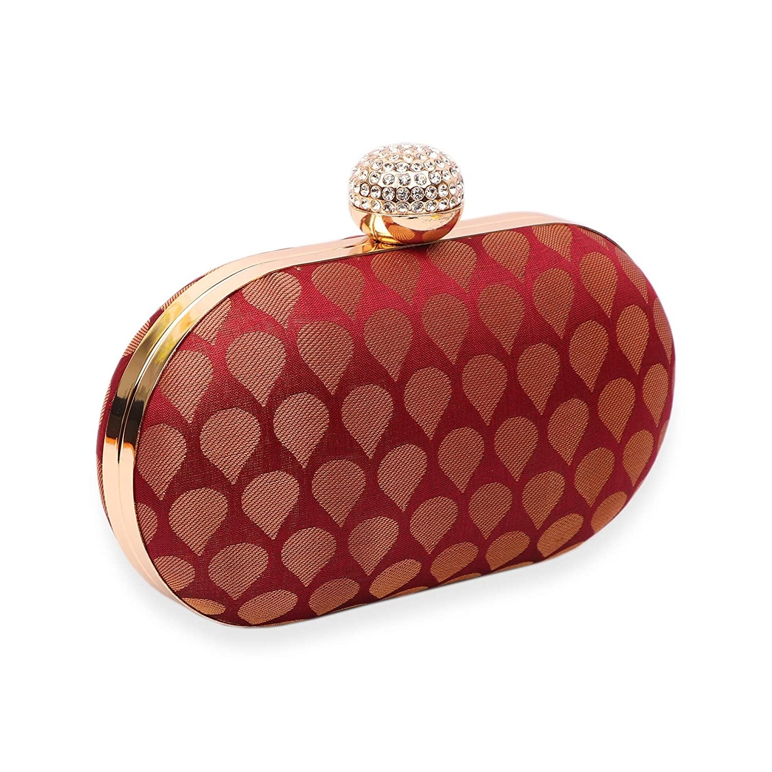 A patterned red and golden clutch