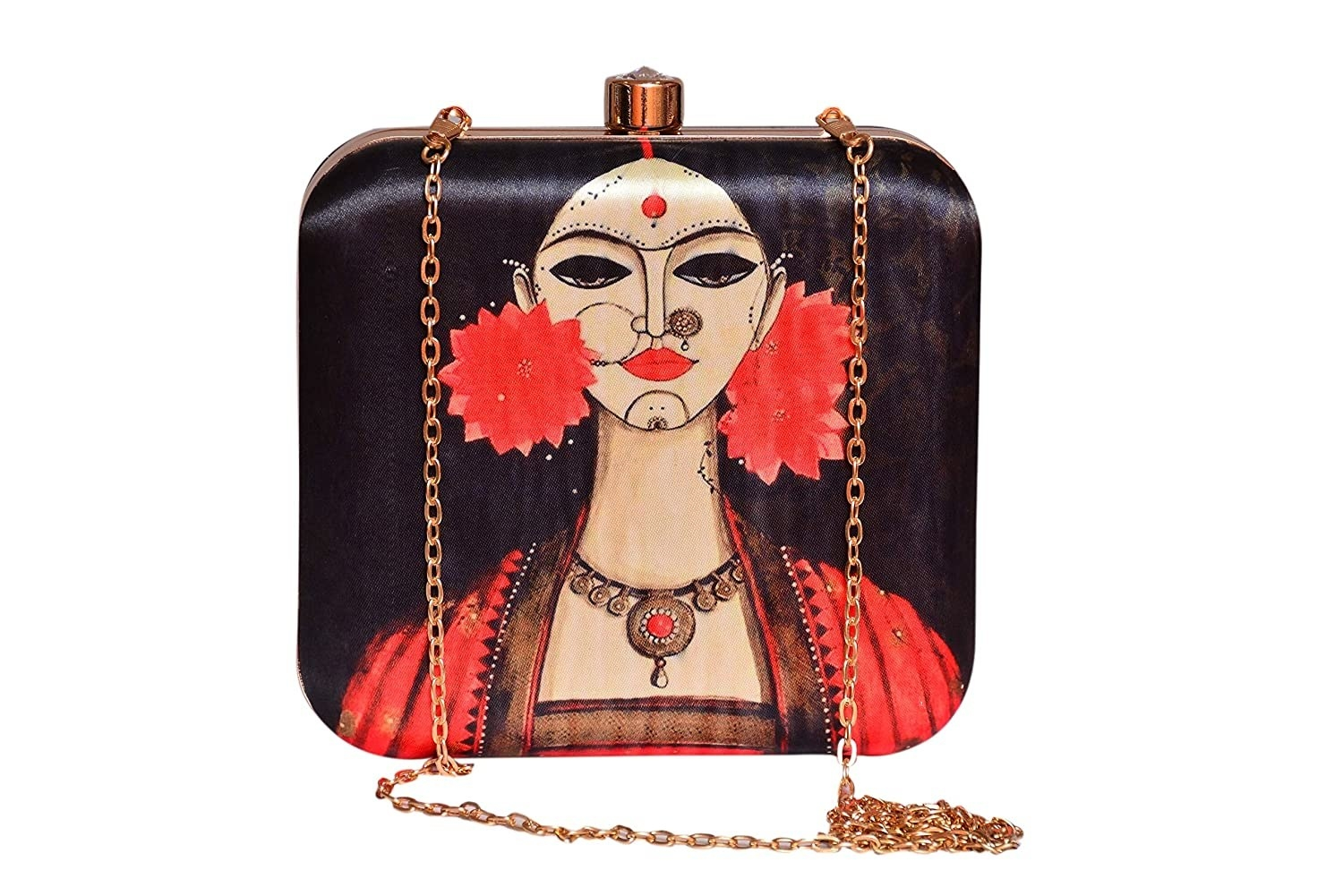 A sling bag with a the painting of a woman on it