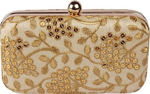 A clutch bag with golden embroidery on it