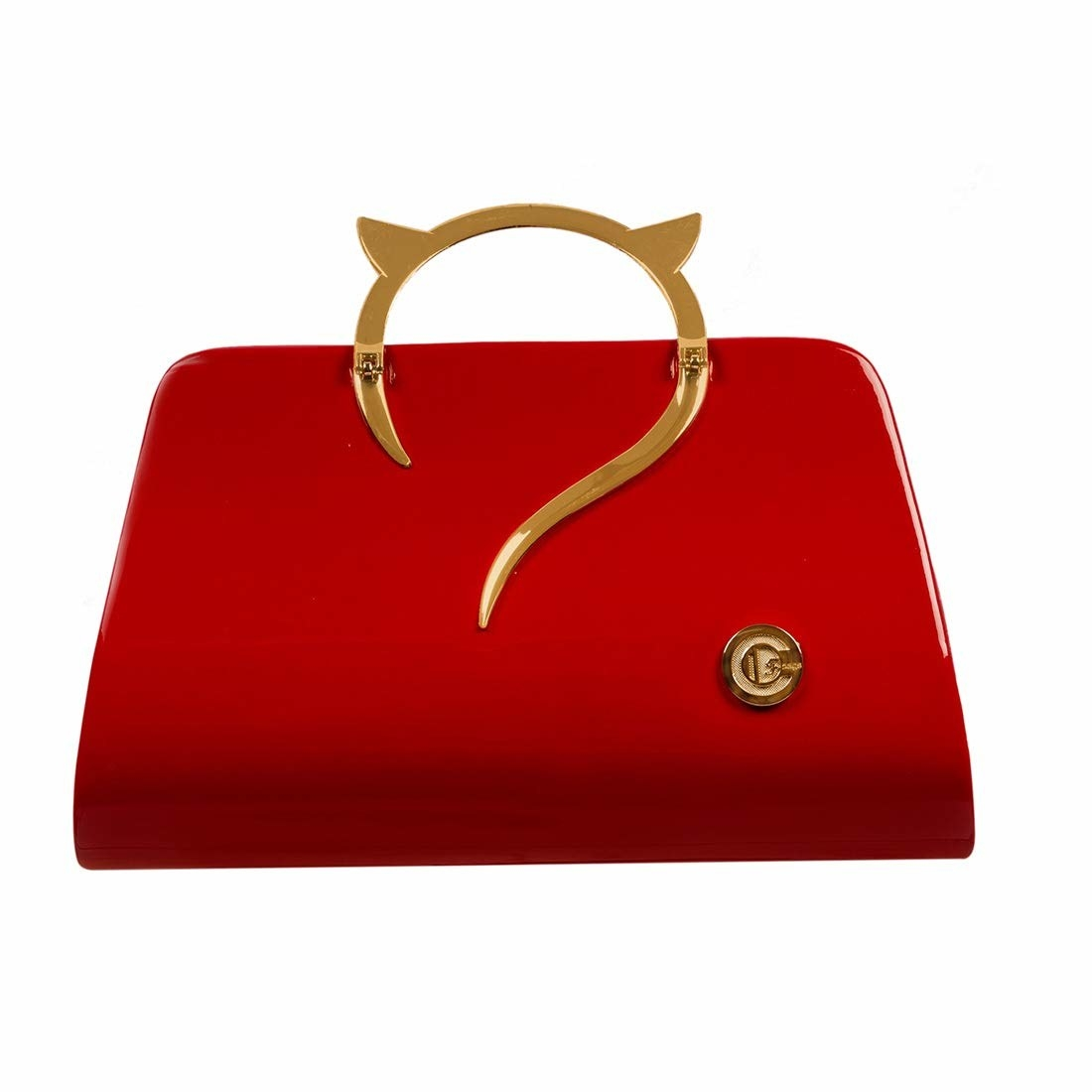 A red clutch with a cat-ears handle