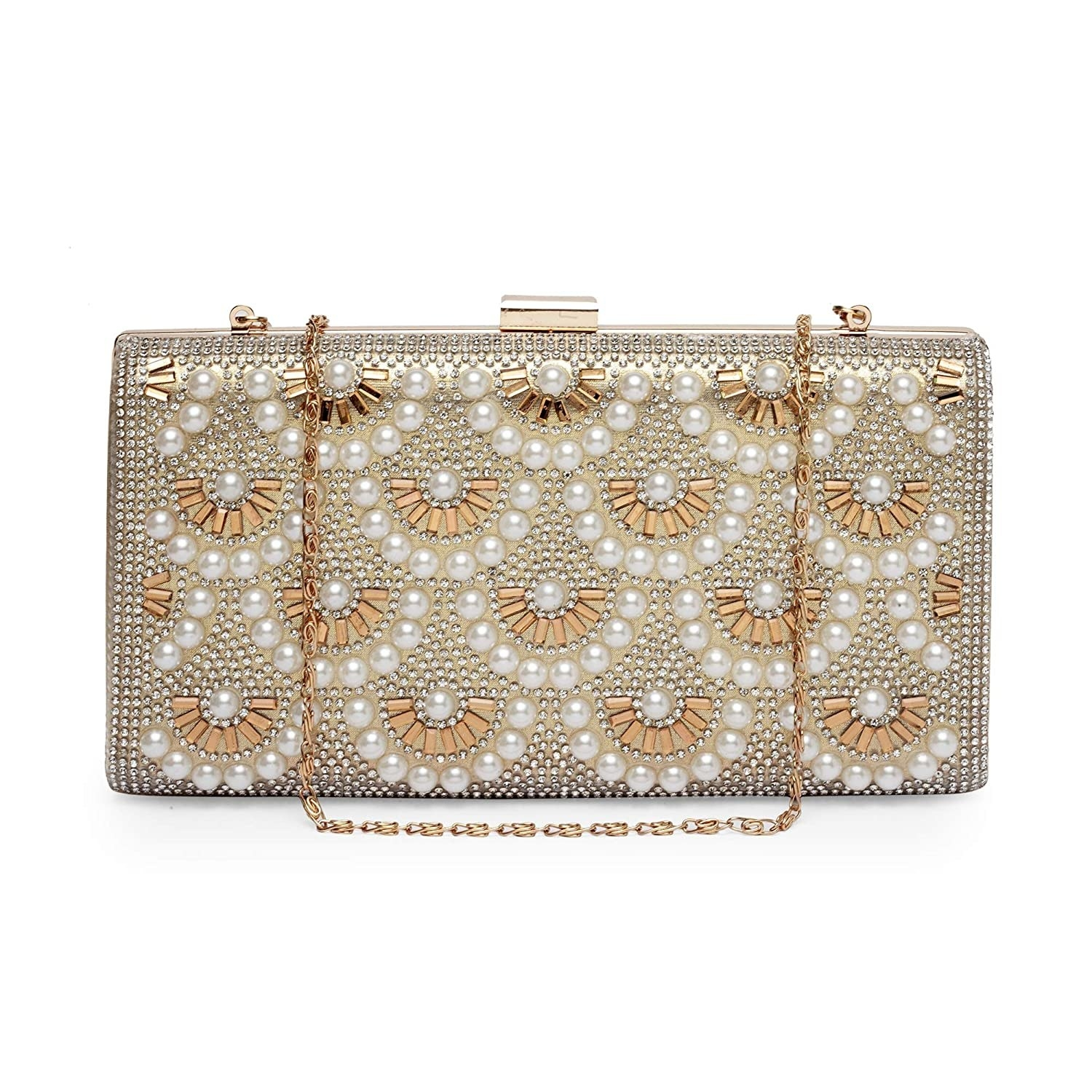 A clutch with floral pearl beads on them