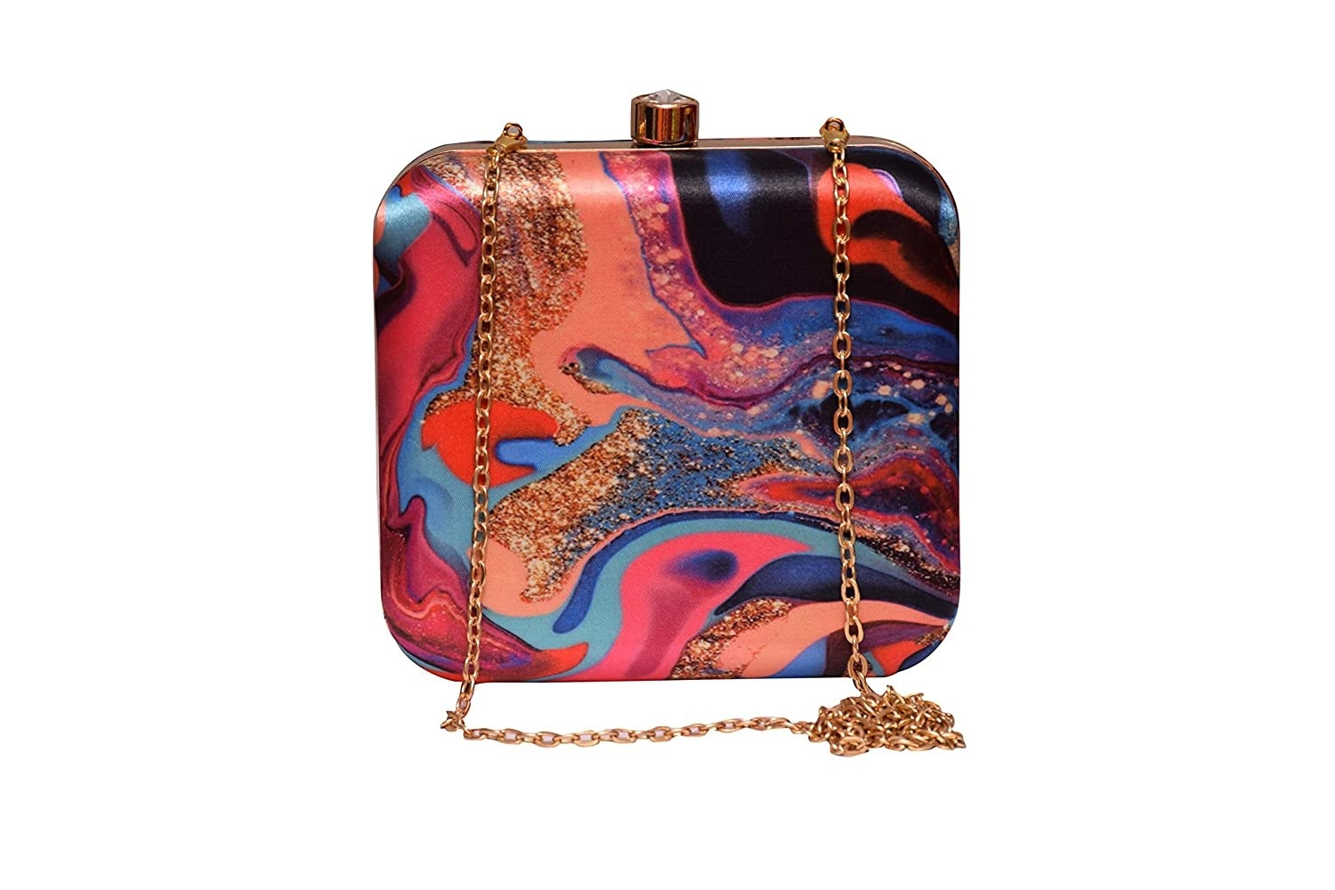 A clutch with a golden handle and different patterns on it with glitter