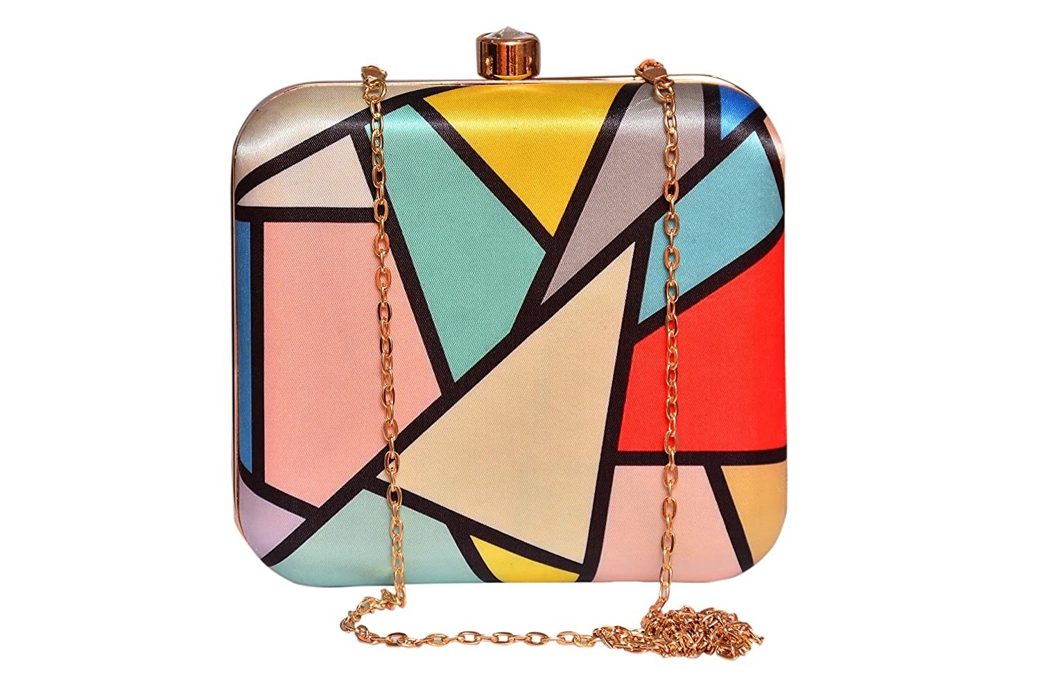 A clutch with an abstract geometrical pattern and a different colour in each shape.