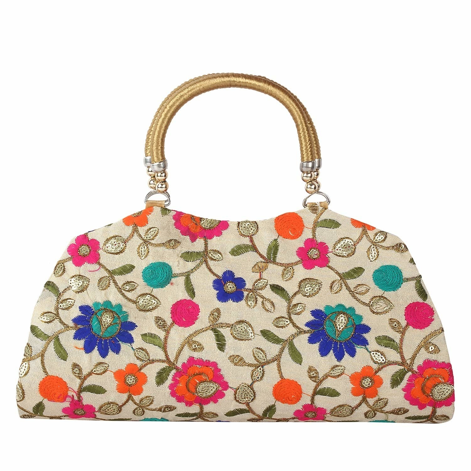 A white clutch with floral patterns on it