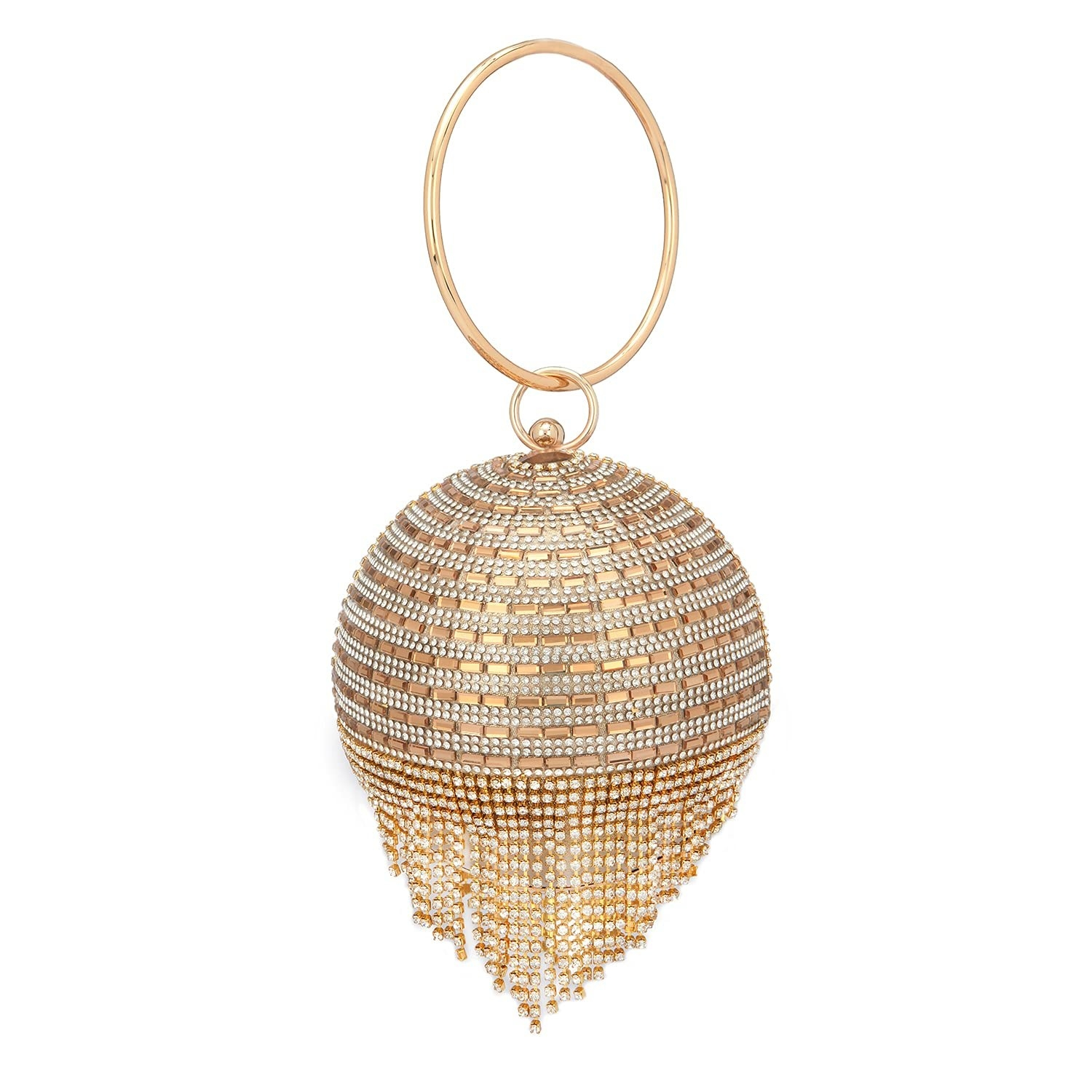 A ball clutch with tassels on the bottom