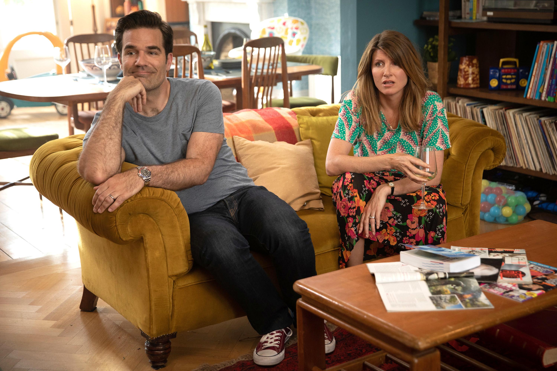 Rob Delane and Sharon Horgan on set shooting Catastrophe