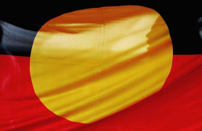 A close up of the Aboriginal Flag