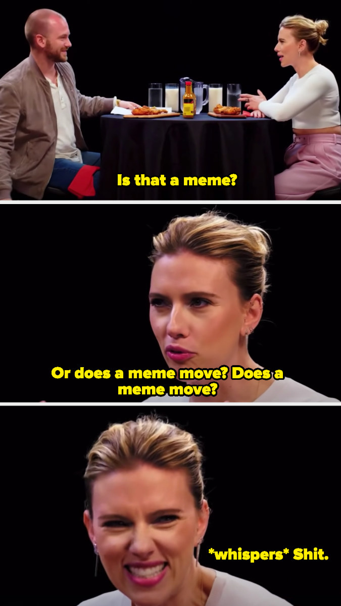 Scarlett confuses memes with gifs and asks if memes move.