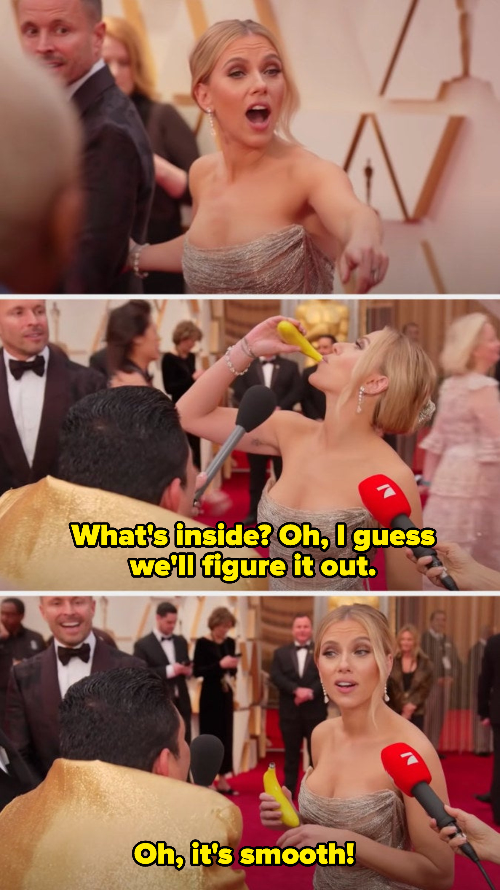 """Scarlett stops on the red carpet when she sees Guillermo holding a flask and then drinks out of it. She says, """"What's inside? Oh, I guess we'll figure it out. Oh, it's smooth!"""""""