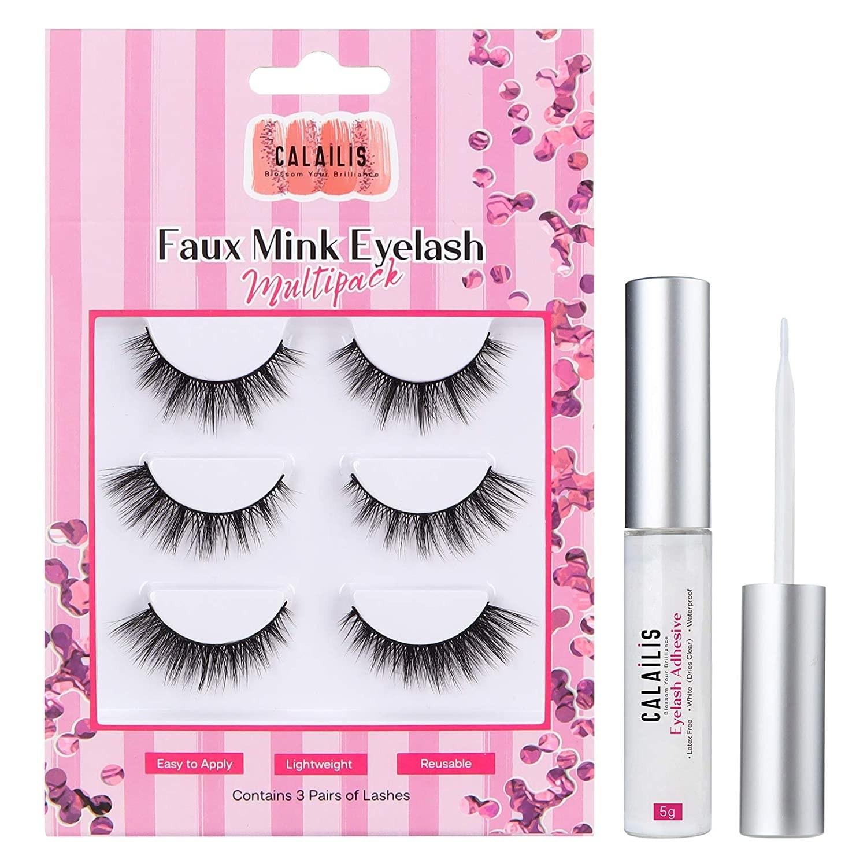 3 pairs of false eyelashes with a bottle of eyelash glue