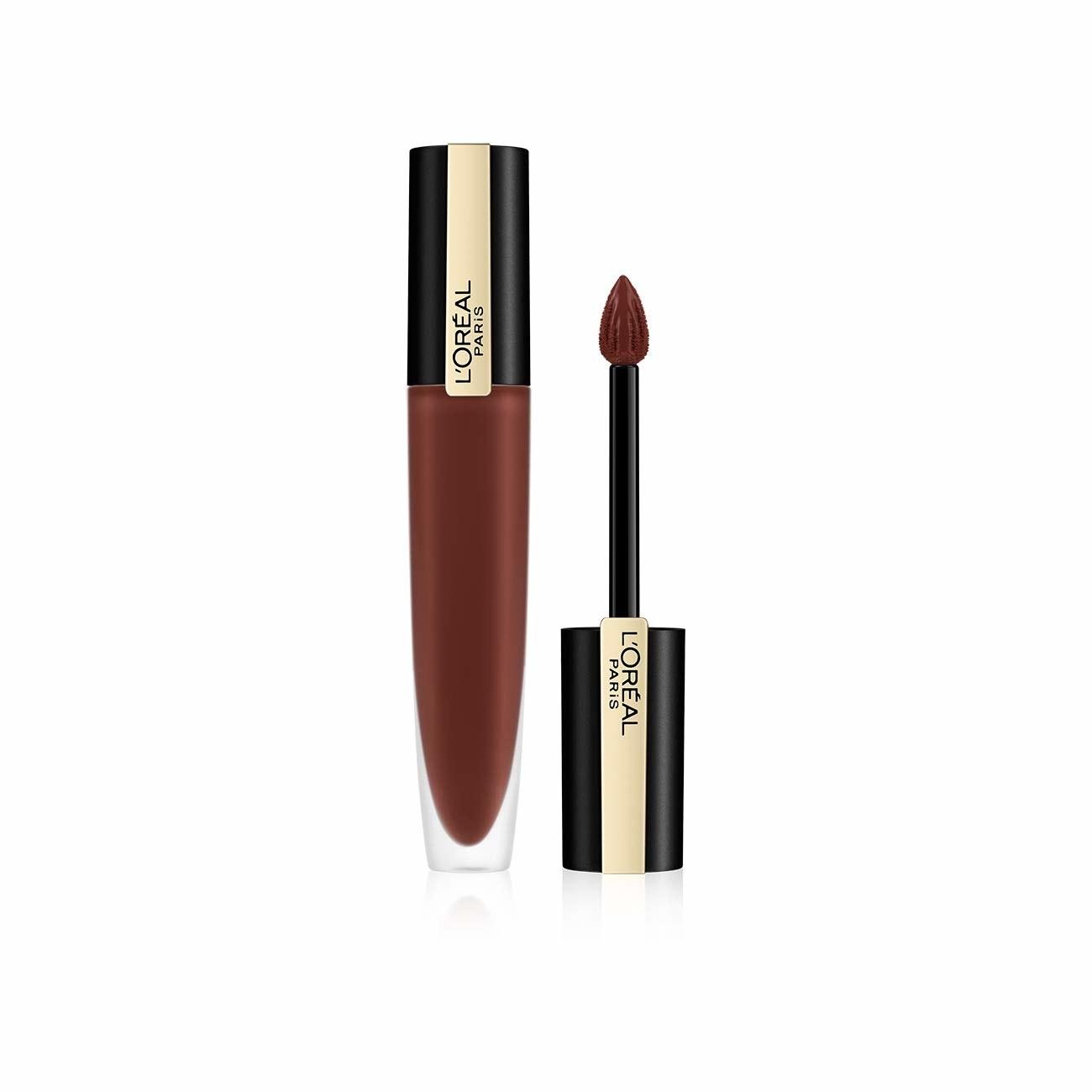 A dark red lipstick