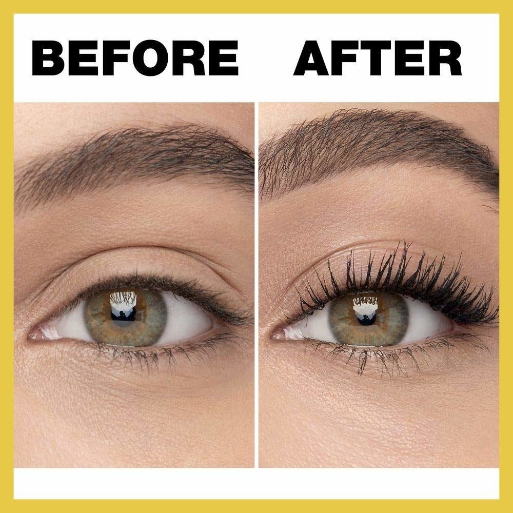 A before and after image of a person wearing the mascara. They have voluminous lashes in the after image.