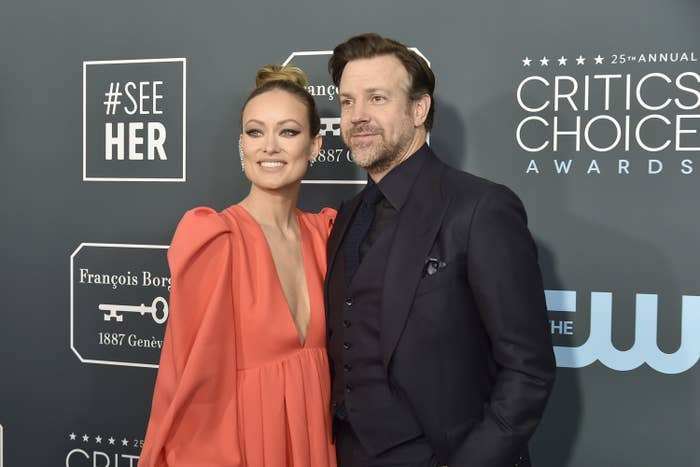 Olivia Wilde and Jason Sudeikis are pictured on the red carpet at the Critics' Choice Awards in 2020