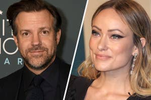Jason Sudeikis and Olivia Wilde are pictures smiling at different events in this split image