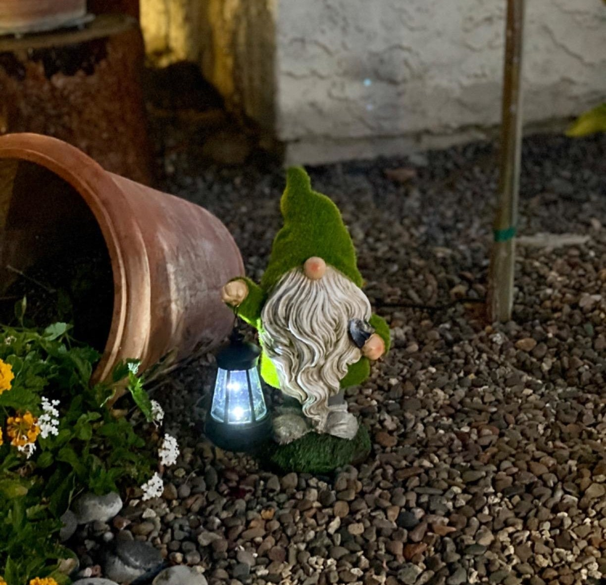 A reviewer photo of the gnome with a mossy hat holding a lit lantern on top of pebbles