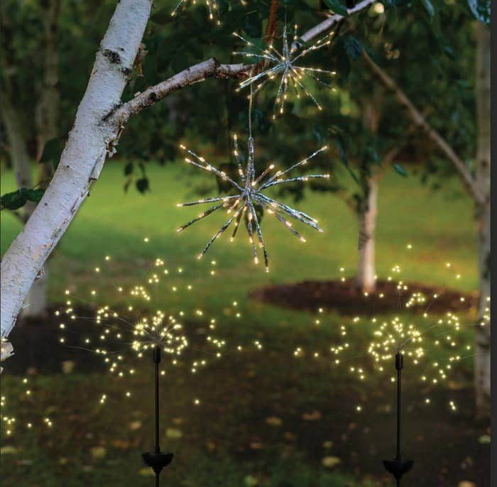 Two fairy light stakes and two hanging fairy light balls