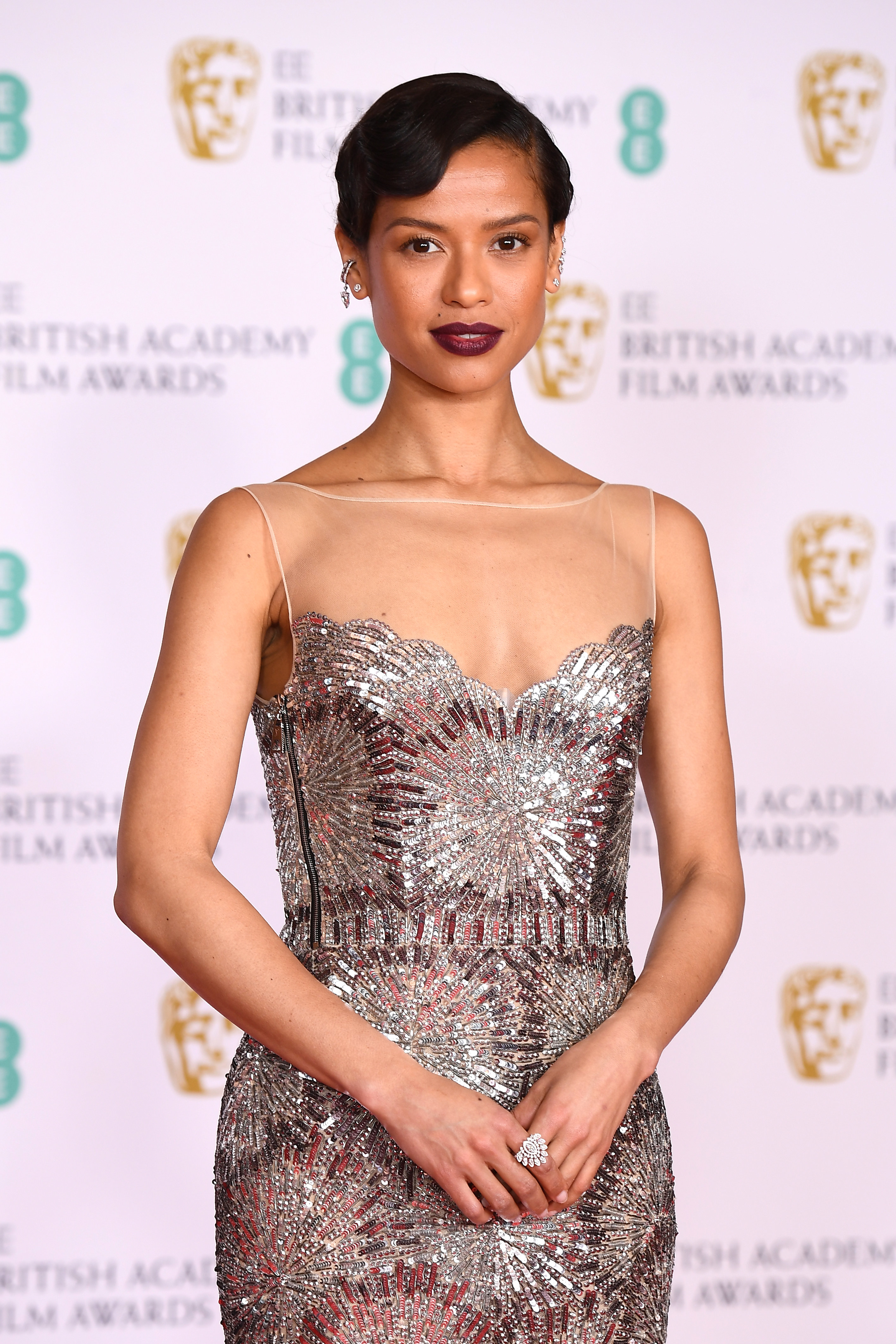 Gugu on the BAFTA red carpet in a sequined gown