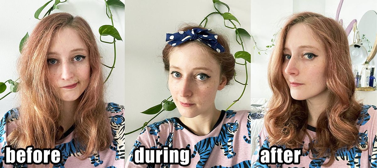 before: editor with frizzy hair and loose waves during: hair wrapped in headband after: hair now has some loose curls