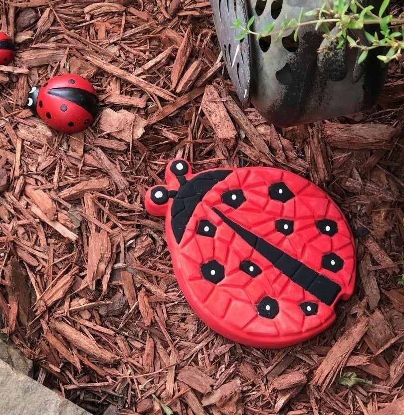 A red and black painted ladybug stepping stone