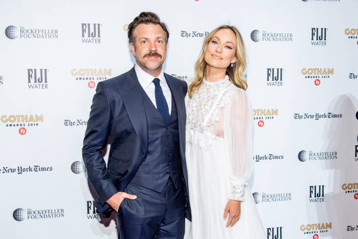 Jason Sudeikis and Olivia Wilde are photographed at a red carpet event