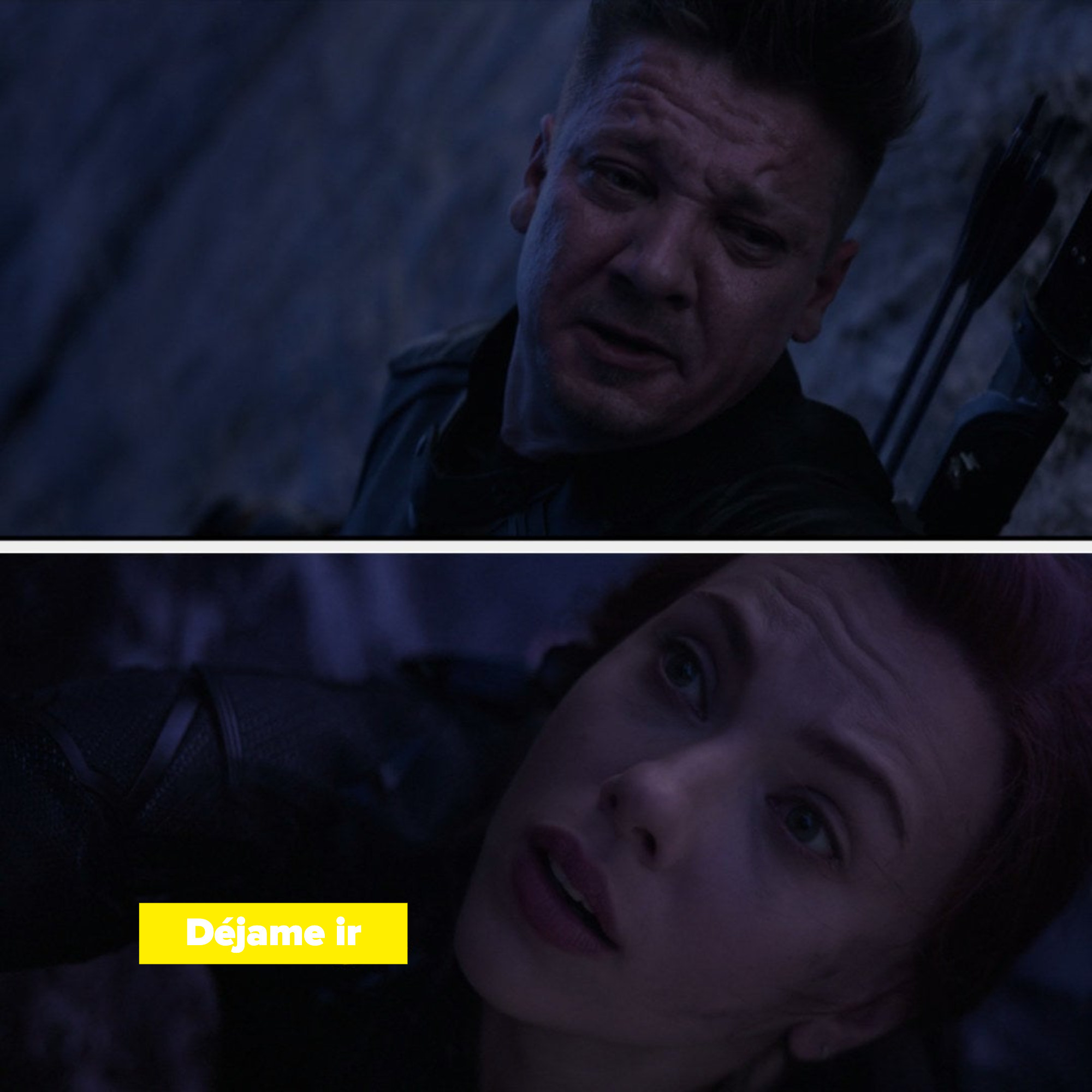 "Natasha says to Clint ""Let me go"""