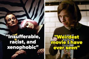 """Bill Murray and Scarlett johansson in Lost in Translation labeled """"Insufferable, racist, and xenophobic"""" and Elisa in The Shape of Water labeled """"weirdest movie I have ever seen"""""""
