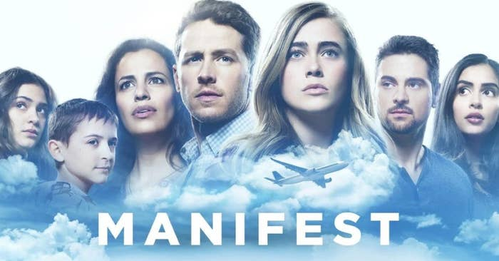 The cast of Manifest among the clouds with a plane in the foreground in a promotional image for the show