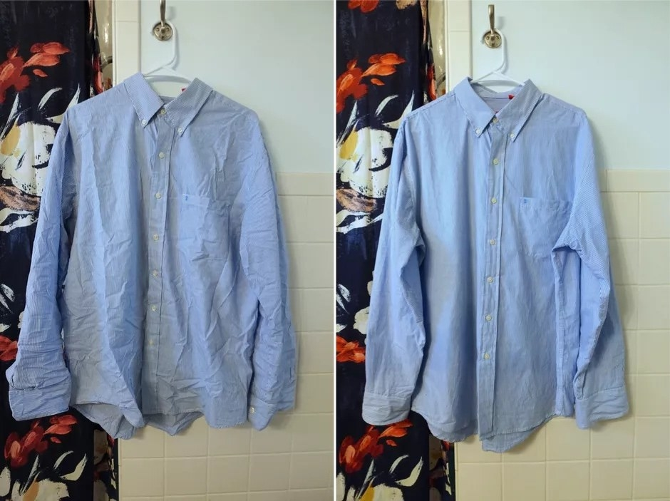a reviewer photo of a blue dress shirt looking wrinkled on the left, and the same shirt with less wrinkles on the right