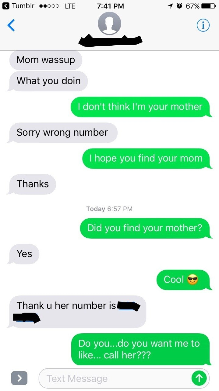 wrong number text from someone looking for their mom