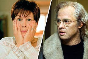 Jamie Lee Curtis as an old woman next to Brad Pitt as an old man