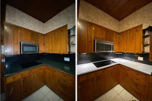 on left, plain black kitchen counter top. on right, same counter top with faux white marble paper covering