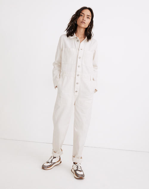 A model wears the jumpsuit in white