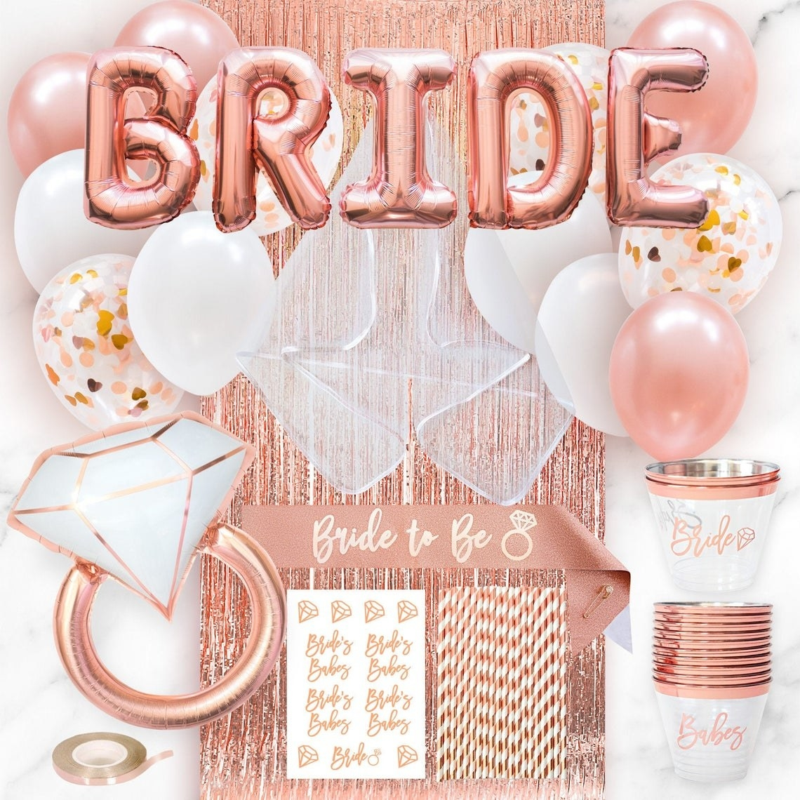the rose gold-themed bridal decorations