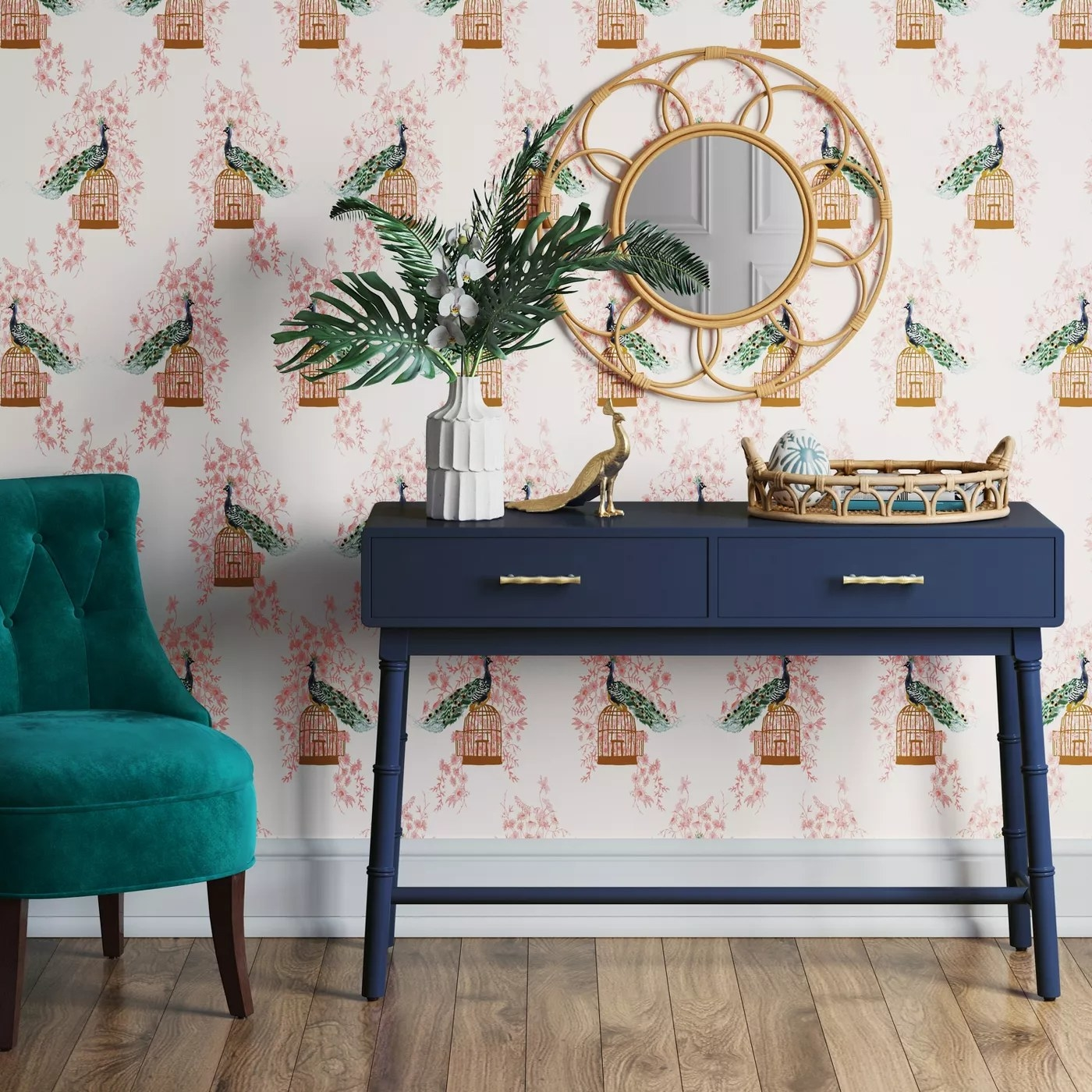 The blue table with two drawers in an entryway