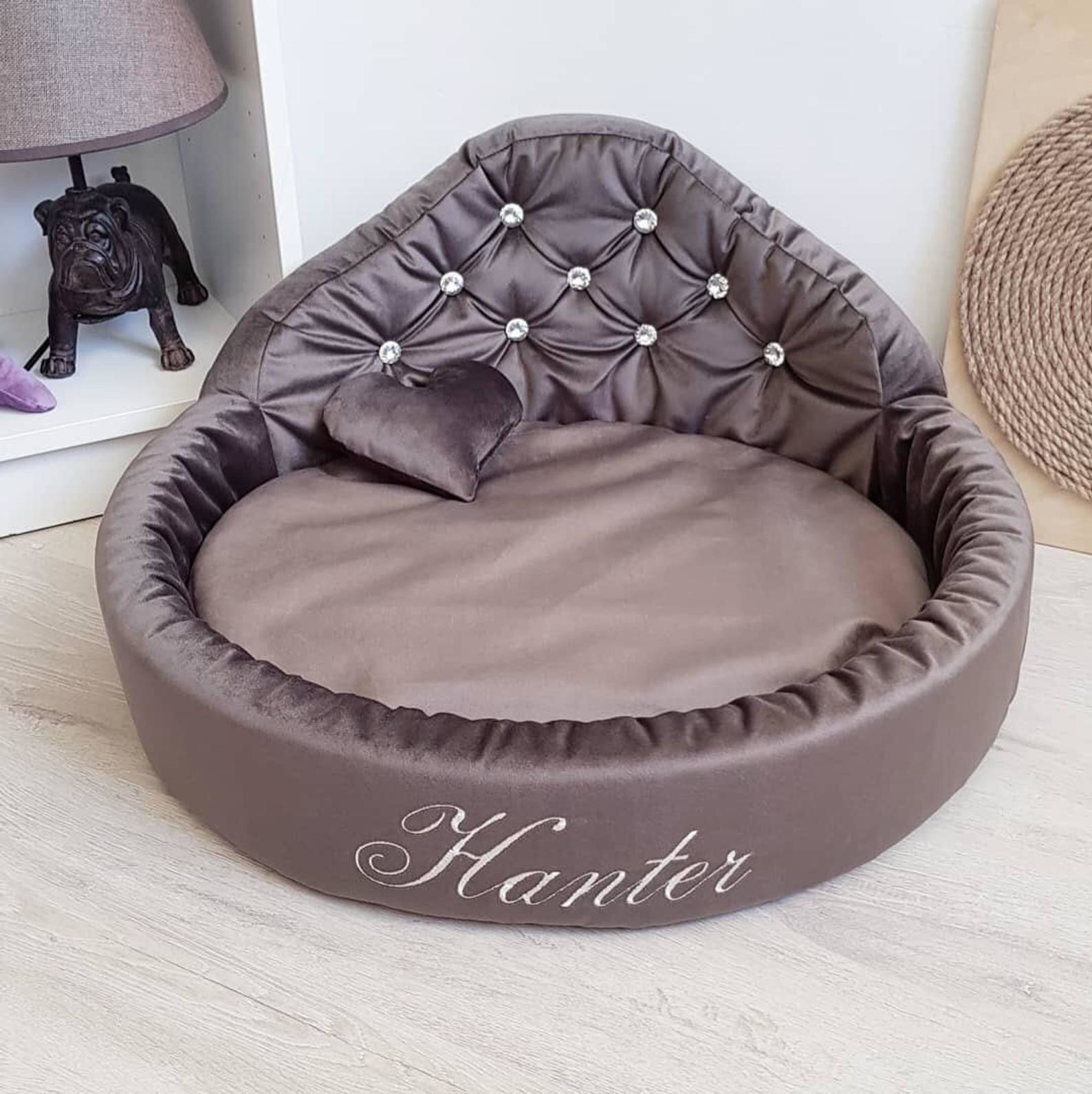 a brown personalized dog bed with rhinestones and embroidery