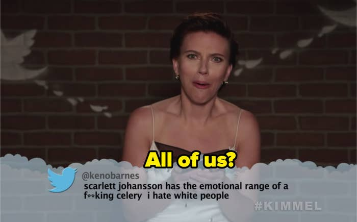"""Tweet reading """"Scarlett Johansson has the emotional range of a fucking celery. I hate white people."""" Scarlett is visibly shocked but also laughing."""