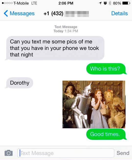 wrong number text where someone named dorothy texts and is mistaken for the wizard of oz characer