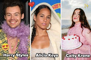 Three split photos: from left- Harry Styles, Alicia Keys and Caity Krone