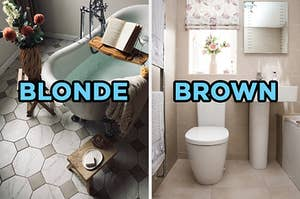"""On the left, a bathtub with a tray over it with a book on top and plants near it labeled """"blonde,"""" and on the right, a sunny bathroom with a toilet and sink labeled """"brown"""""""