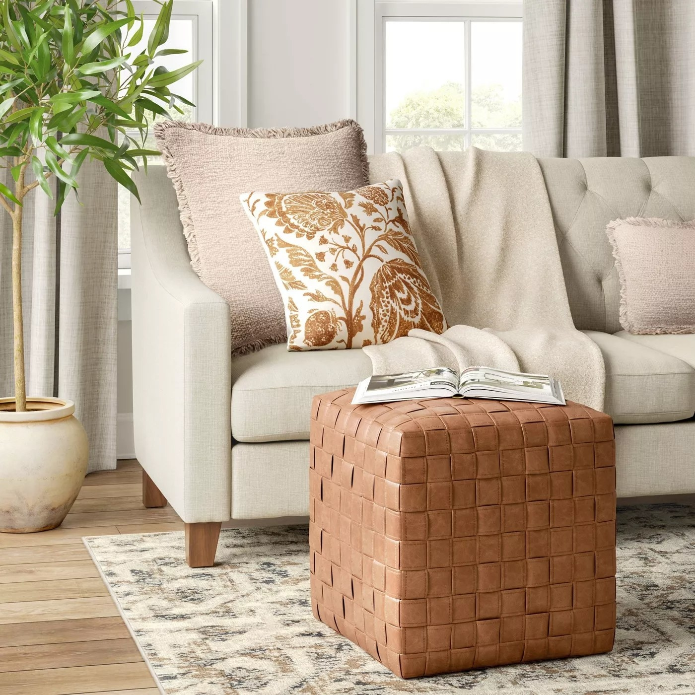 The square cube with a woven texture in a living room