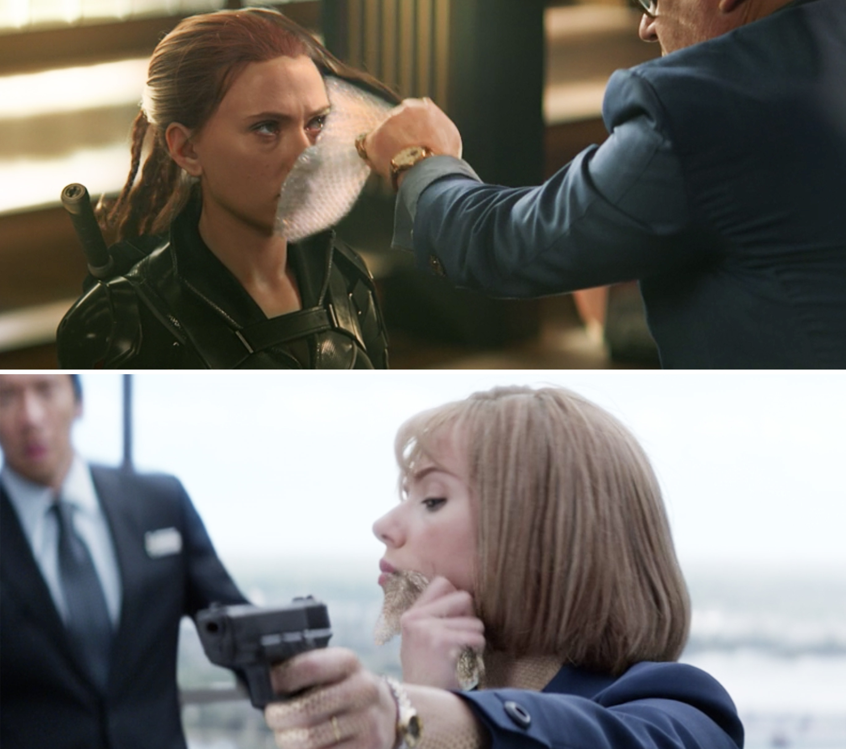 Dreykov peeling off Natasha's mask vs. Natasha peeling off her mask in Winter Soldier