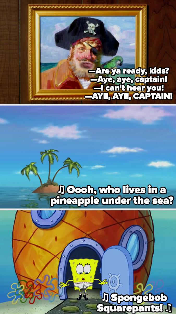 the opening lyrics of Spongebob Squarepant's theme