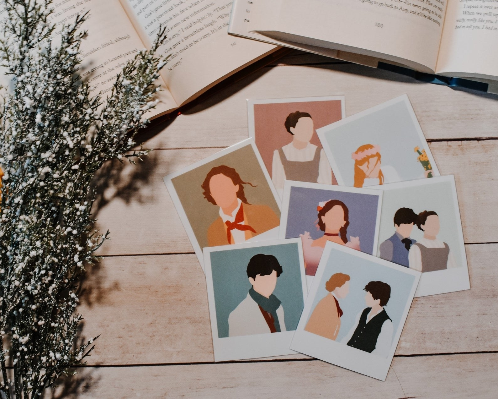 seven different polaroid bookmarks featuring seven scenes from the Greta Gerwig directed 2019 version of Little Women