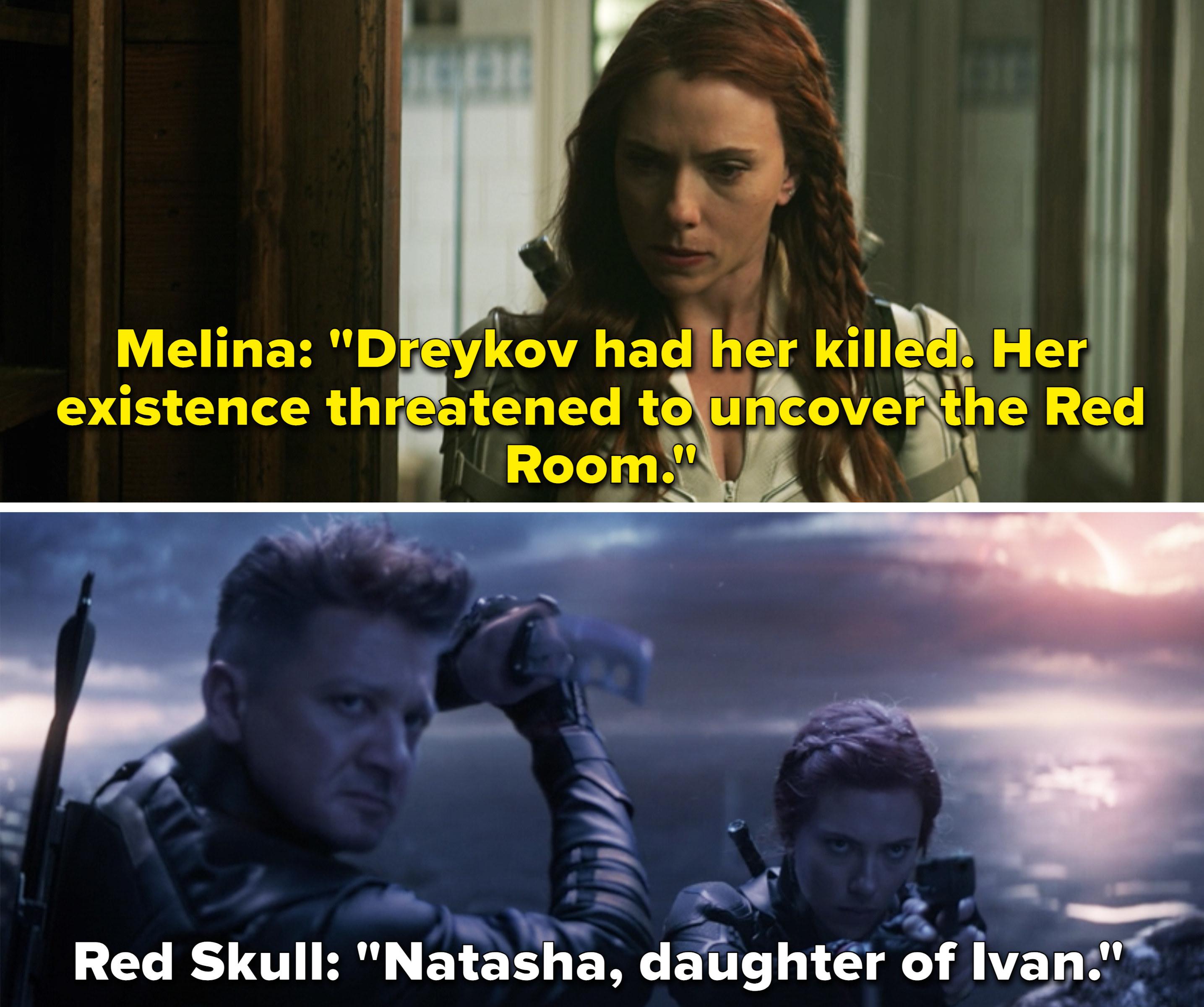 "Melina telling Natasha Dreykov had her mother killed vs. Red Skull saying, ""Natasha, daughter of Ivan"""