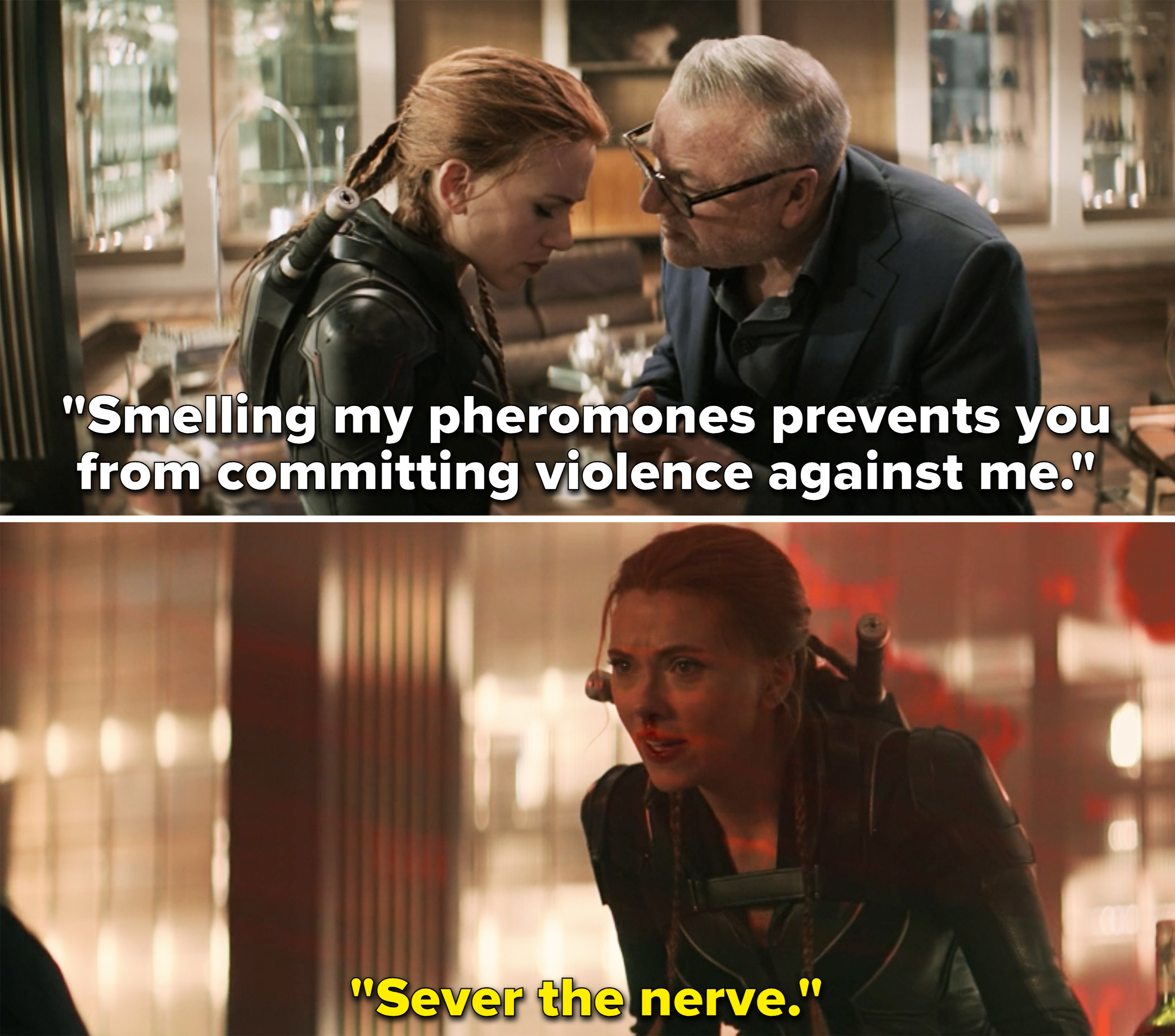 """Dreykov saying, """"Smelling my pheromones prevents you from committing violence against me"""""""