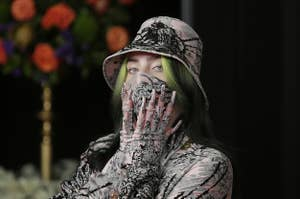 Billie Eilish is photographed at the Grammy Awards in 2021