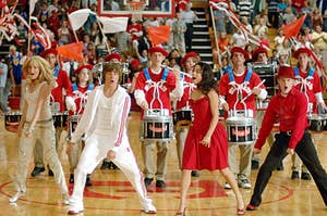 """The cast of """"High School Musical"""" dances to """"we're all in this together"""""""